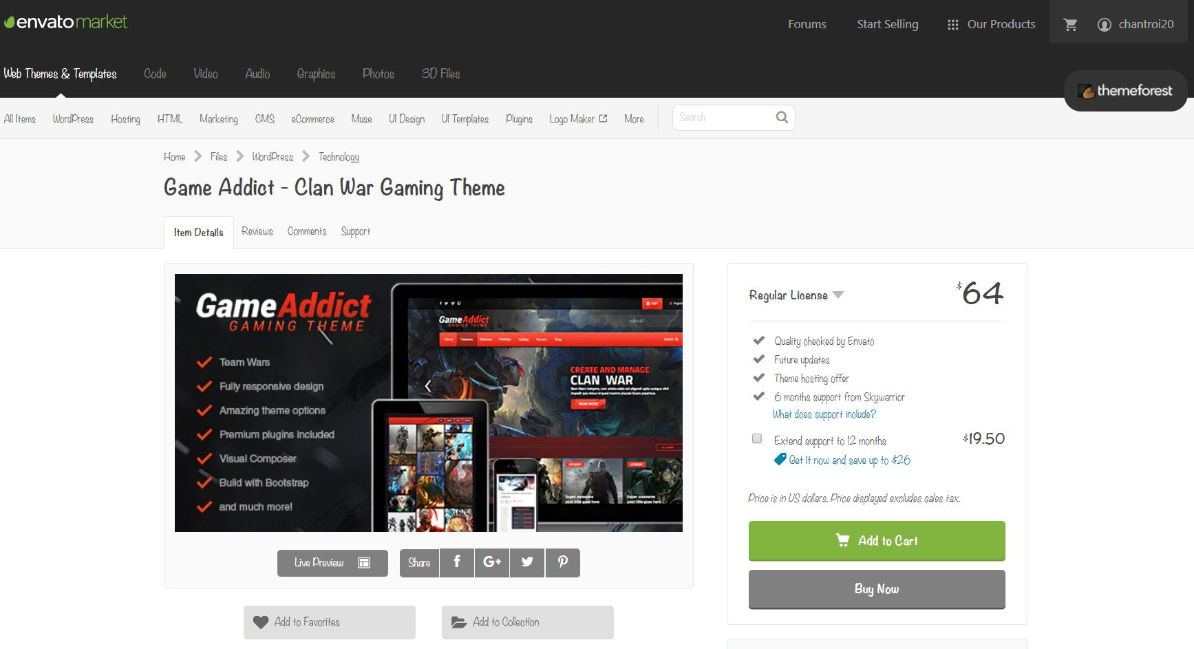 Themeforest giá rẻ WordPress Game