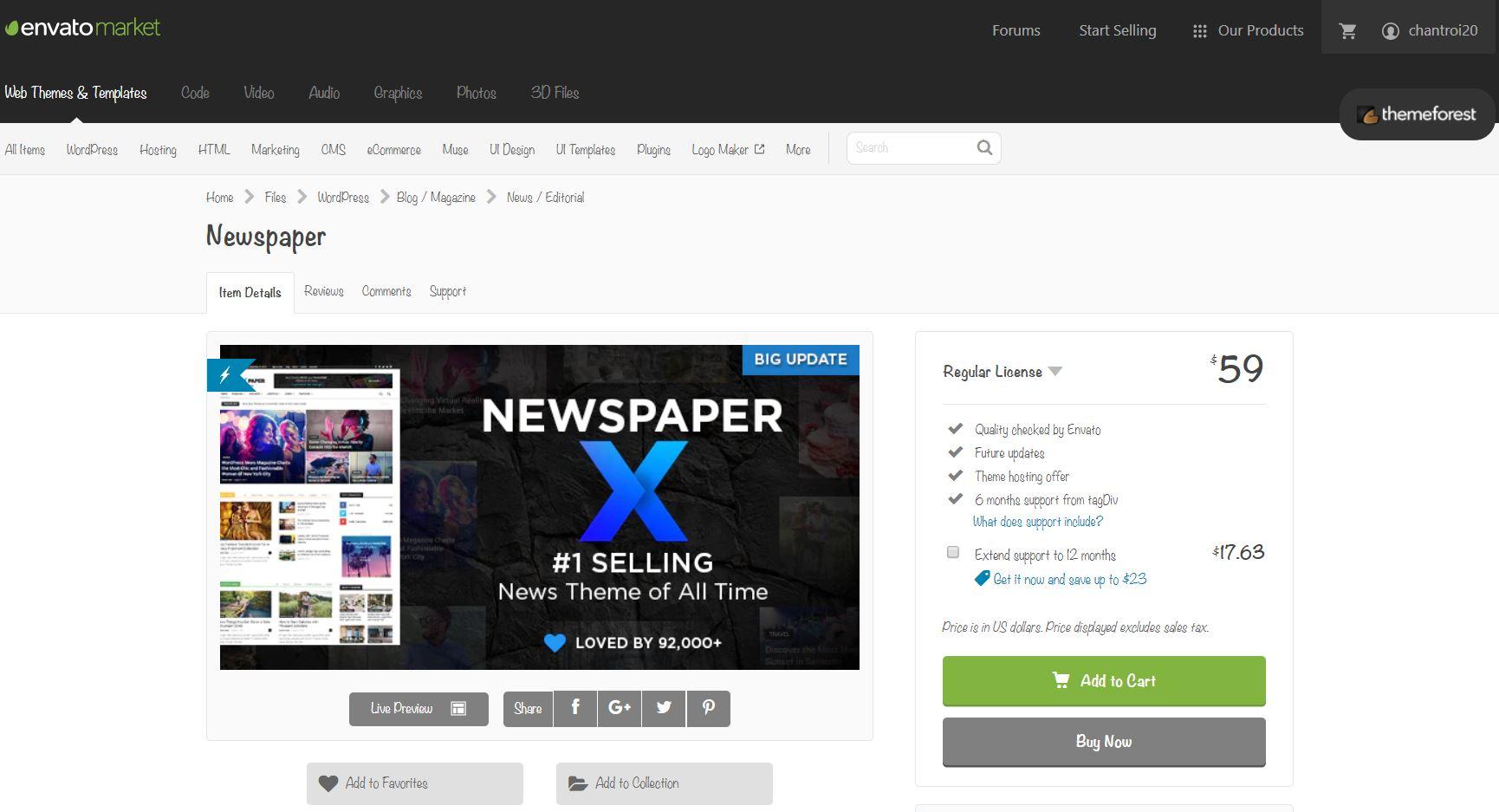 Themeforest giá rẻ WordPress Tin Tức